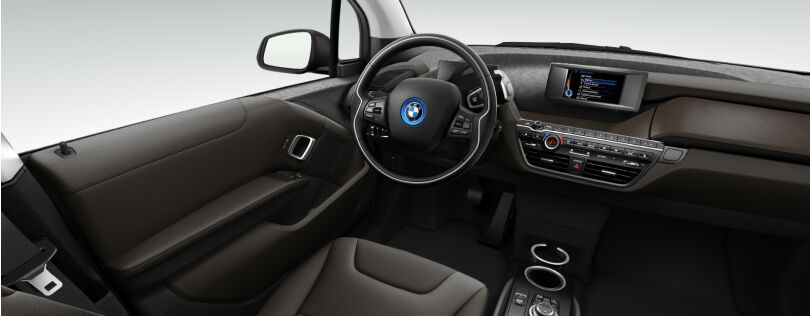 BMW i3 interior: Suite interior world with standard Oak trim (Image: BMW.co.uk)