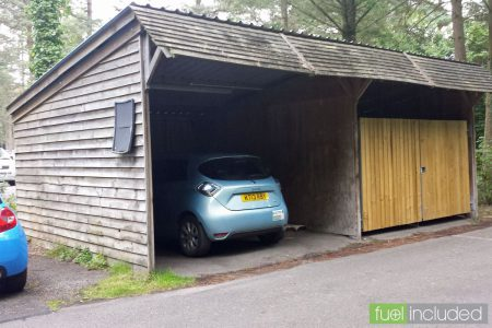 CenterParcs EV Charging Point in a Car Park Equipment Shed (Image: T. Larkum)