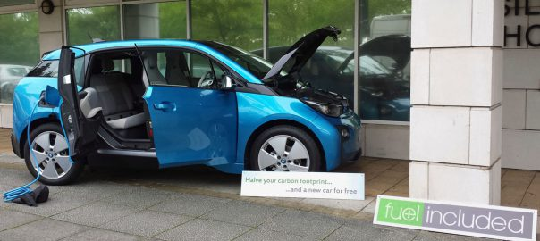Our BMW i3 on display outside our office (Image: T. Larkum)