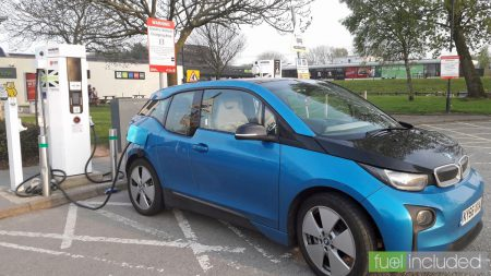 Our BMW i3 on charge at Corley Services (Image: T. Larkum)