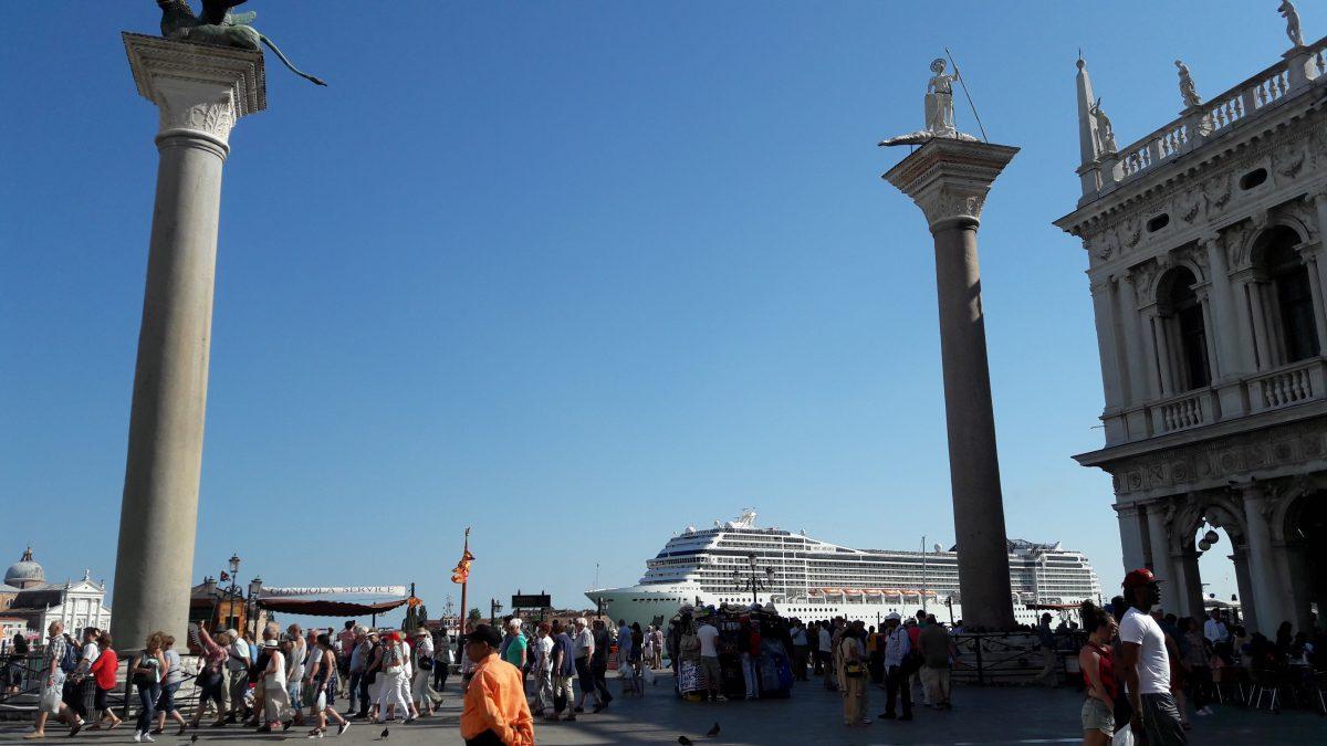 A vast cruise ship goes past St Mark's Square, Venice (Image: T. Larkum)