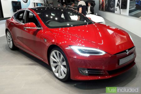 Red Tesla Model S in the new MK showroom (Image: T. Larkum)