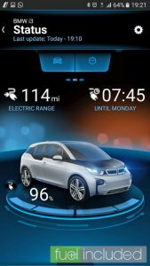 BMW 'i Remote' app display during charging (Image: T. Larkum)