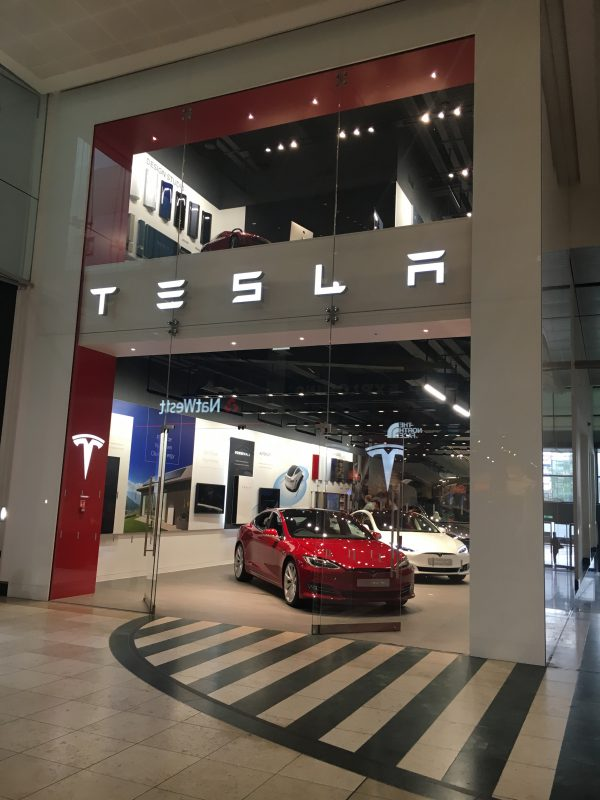 tesla store pops up in milton keynes shopping centre