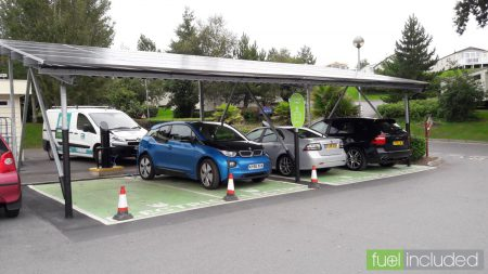 The Solar Charge Points at Devon Cliffs - and only 2/3 of the cars shouldn't be parked there! (Image: T. Larkum)