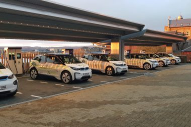 Charging Hub with eVolt Rapid Chargers (Image: SWARCO eVolt)