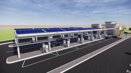 Proposed electric forecourt at Great Notley (Image: Gridserve)