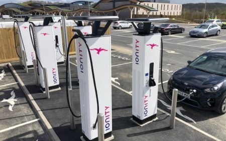 IONITY rapid charge points at Leeds Skelton Lake Services (Image: IONITY)